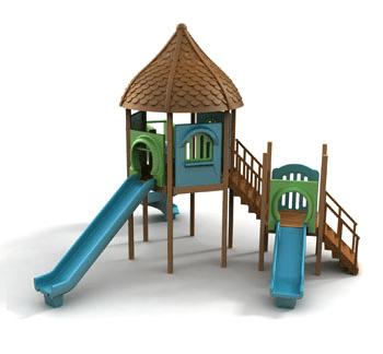 מתקן משולב מעץ לילדים